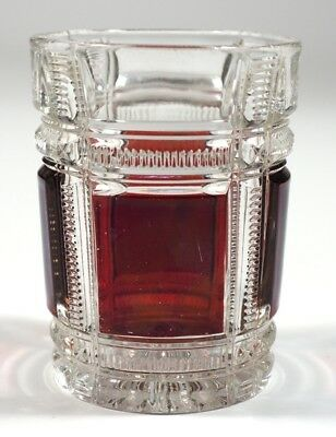 EAPG - Duncan #90 Zippered Block - Ruby Stained Tumbler