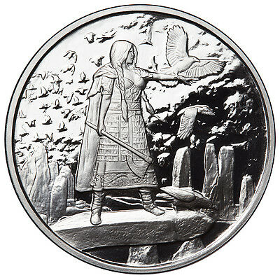 """1 Oz Silver Coin Celtic Lore """"the Morrigan"""" 2Nd In Series Goddess Of War #coa"""