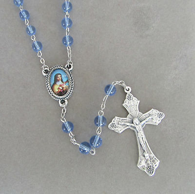 Saint St Therese Theresa Centerpiece Rosary BLUE glass bead Italian Rosaries NEW