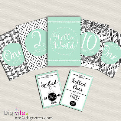 Baby Milestone Cards, Baby Moments and Milestones, Baby Shower, Announcements,