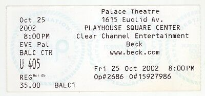 Rare BECK 10/25/02 Cleveland OH Playhouse Square Theatre Concert Ticket Stub!