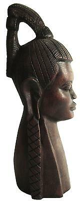 "African Kenya Male Bust Tribal Carved Wood 26 cm / 10"" Tall"