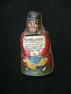 1068/  Spardose Poor weary Willie Blechspielzeug / Money Box um ca. 1900