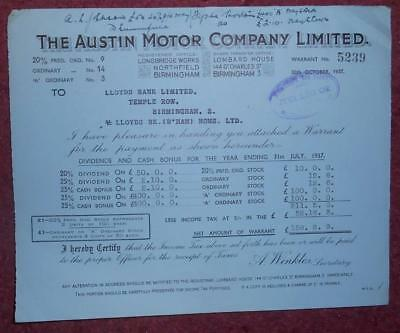30909 GB 1937 Austin Motor Company Payment Warrant. Attractive vignette on back