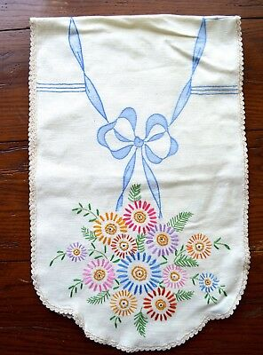 Vintage Hand Embroidered Runner Colorful Florals Hand Crochet Edging 13X42 Inch