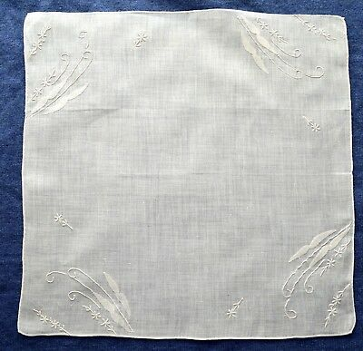 Vintage White Embroidered Wedding Hanky Applique Hand Rolled And Hemmed