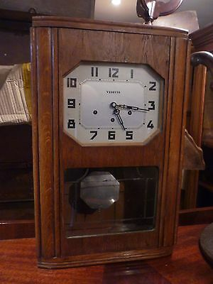 Original Art Deco Oak Cased Westminster Chime Wall Clock In Working Order