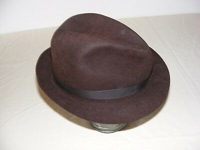 Vintage Gents Brown Felt Hat Trilby Racing Hand Made Size 7.5 (61) Ribbon