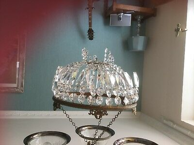 Vintage brass and glass basket chandelier. Needs repair. 12in dia.