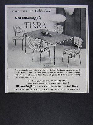 1956 Chromcraft Tiara Table Chairs Dinette Furniture vintage print Ad