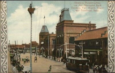 Tianjin Tientsin China Fire Watch Tower & Bank c1910 Postcard chn EXC COND