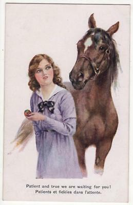 VINTAGE A/S POSTCARD,FLORENCE E VALTER,GLAMOUR,WOMAN & HORSE, cWW1,INTER-ART