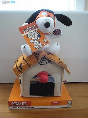 Peanuts Snoopy Flying Ace Musical Light Up Halloween Plush  New With Tags