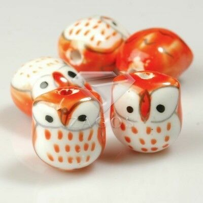 10pcs Wholesale Handmade Porcelain Owl Spacer Loose Beads 17x15mm Orange PB0003