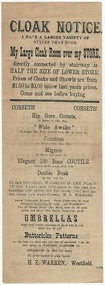 1870s Westfield, Massachusetts Cloth & Clothing + Cloak Store Broadside