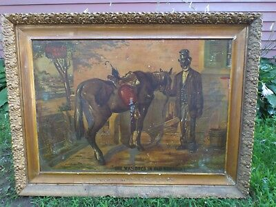 "Antique Tin Litho Green River Whiskey ""Bred in Old Kentucky"" LARGE Framed"