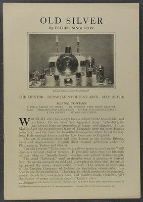 1916 Collecting Antique Silver Advice - Esther Singleton / 'The Mentor' Offprint