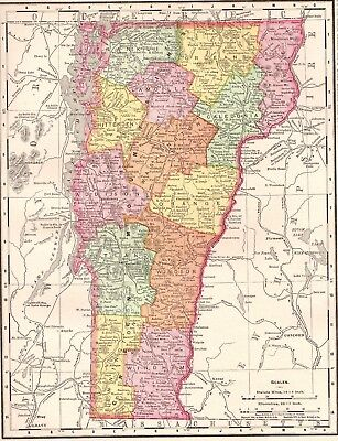1900 Antique VERMONT Map Vintage 1900s Map of Vermont Gallery Wall Art #4107