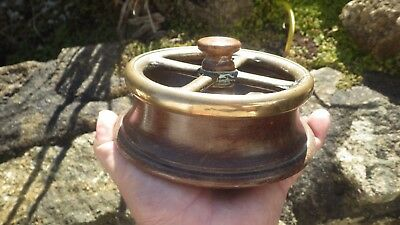 Teak Wood And Brass Ashtray Bowl Nautical Valve Wheel From H.m.s Birmingham