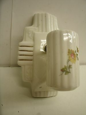 Vintage Porcelain Ceramic Wall Sconce Light Fixture Floral Gold trim COVER ONLY