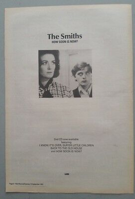 "THE SMITHS HOW SOON IS NOW ORIGINAL 1992 Magazine Advert Size 12"" X 17"" app"