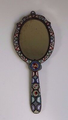 Antique Late 19thC Italian Floral Micro Mosaic Hand Wall Mirror