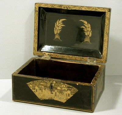 Chinese Black & Gold Lacquer Sewing Box          c1850