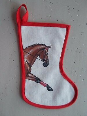 """Vintage 12"""" Hand Painted Dressage Horse Christmas Stocking Canvas"""