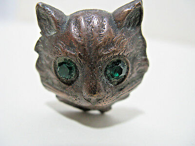 Antique Victorian Brass Cat's Head Face Hatpin  With  Green Stone Eyes