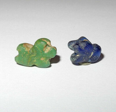 2 EGYPTO-ROMAN era SYMBOLIC GLASS LION BEADS  - circa 100 BC to 100 AD