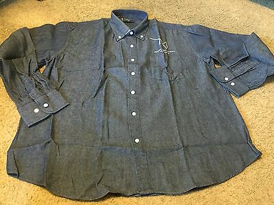 Nice men's L Large blue denim button front shirt NEW M Resort Casino Las Vegas
