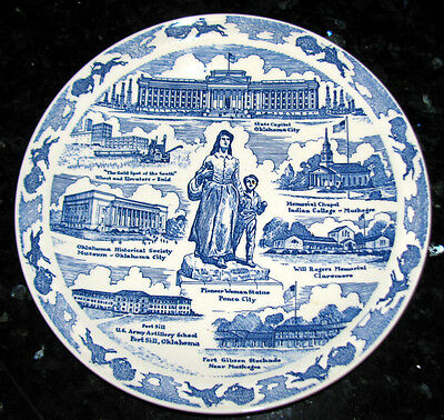 "OKLAHOMA ""Heart of the Great Southwest"" Blue Collector's Plate*Vernon Kilns"