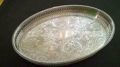Beautiful Silver Plated on Copper Oval Gallery Serving Tray Sheffield Vintage