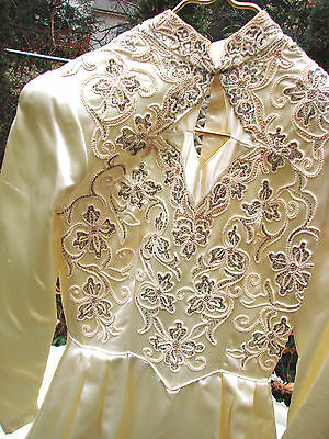 Vintage 40s 50s Ivory SAtin Wedding Dress Beaded VGC Keyhole Bodice Cathedral S