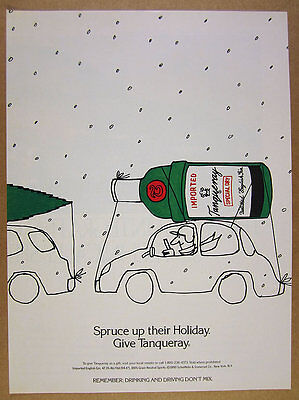 1991 Tanqueray Gin green bottle on car christmas theme art vintage print Ad