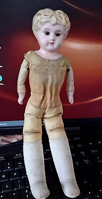 Antique 1800s German tin head doll glass eyes blonde hair