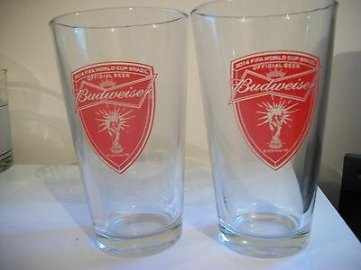 2- Rare- Budweiser Fifa World Cup Brazil- Beer Glasses
