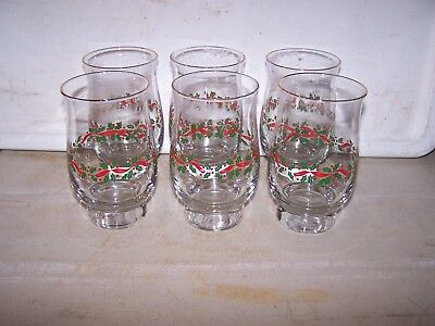 6 Arbys 1986 Christmas Holiday Holly Berry Tumbler Glasses Gold Trim