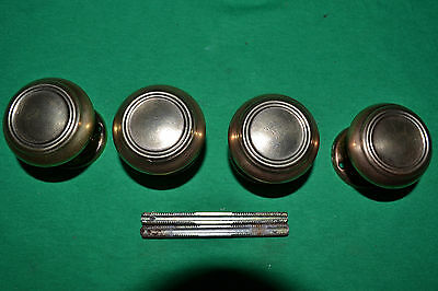 """2"" Sets Of Brass Door Knobs With Concentric Circles  Rosettes, Beautiful"
