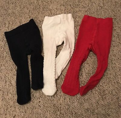 Baby Girls Next 3 X  Pairs Navy, Red & Cream Ribbed Tights Age 0-3 Months Vgc