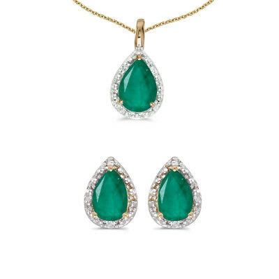 10k Yellow Gold Pear Emerald And Diamond Earrings and Pendant Set