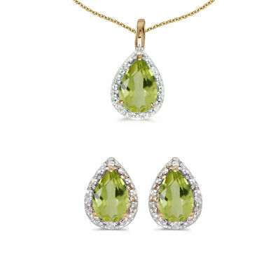 10k Yellow Gold Pear Peridot And Diamond Earrings and Pendant Set