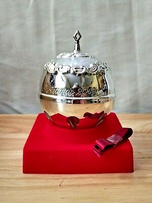 2001 Gorham Silver Plate Chantilly Sleigh Bell Ornament New in Distressed Box