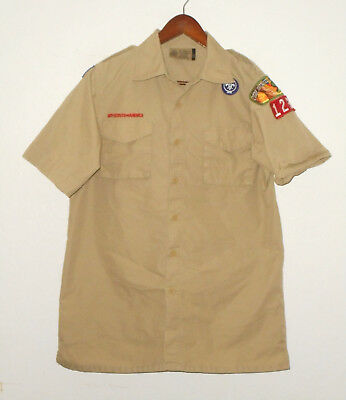 BOY SCOUTS Of America UNIFORM Shirt #123 Khaki Scout Adult Mens : SMALL Sm