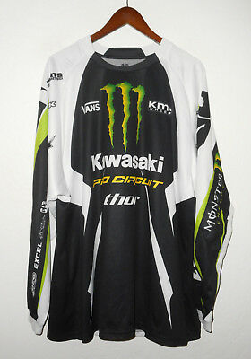 KAWASAKI Pro Circuit THOR Motocross Jersey MONSTER Energy Motorcycle Mens : XL