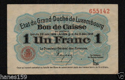 LUXEMBOURG (P27) 1 Franc 1918 VF/VF+