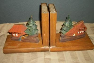 Vintage Black Forest Hp Carved Wood Chalet Mill Bookends Chic Cottage Shabby
