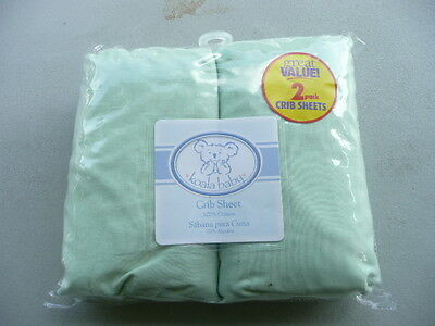 """Koala Baby Crib Cot 2 Fitted Sheet Set Green  220 thread count ~~~28"""" x 52 """""""