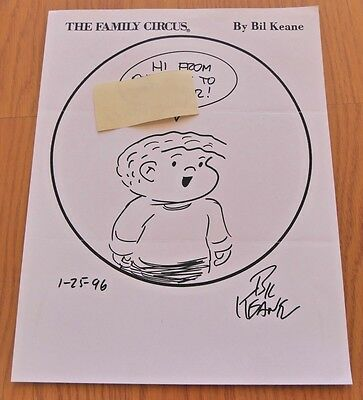 BIL KEANE SIGNED AUTOGRAPHED ORIGINAL HAND DRAWN SKETCH THE FAMILY CIRCUS 8x11