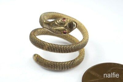 Attractive Antique Silver Gilt Flexible Coiled Snake Ring No Reserve